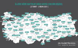 100.000 nüfusa karşılık gelen haftalık vaka sayısını gösteren haritamızın güncel hali.