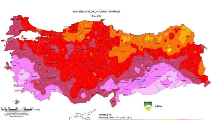 Meteoroloji'den haritalı hava sıcaklığı uyarısı! 50 dereceyi aşacak