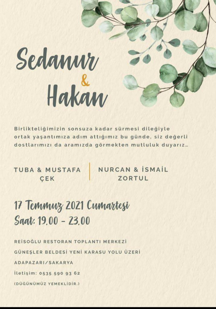 İYİ Parti Siyasi İşlerden Sorumlu İlçe Başkan Yardımcısı düğün davetiyesi